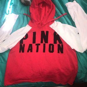 Pink nation cropped hoodie